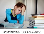 little boy tired of doing... | Shutterstock . vector #1117176590