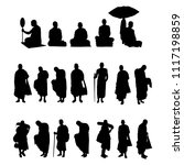 monk in buddhism silhouette... | Shutterstock .eps vector #1117198859