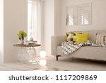 white modern room with sofa.... | Shutterstock . vector #1117209869
