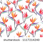 seamless pattern with exotic... | Shutterstock .eps vector #1117214240