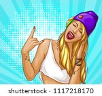 pop art hipster girl in... | Shutterstock .eps vector #1117218170