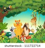 illustration of a forest scene... | Shutterstock .eps vector #111722714
