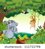 Illustration Of A Forest Scene...