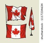 canada flag set   flag on the...   Shutterstock .eps vector #1117234634