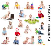 set of crawling babies or... | Shutterstock . vector #111724628