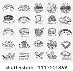vector set with bakery... | Shutterstock .eps vector #1117251869
