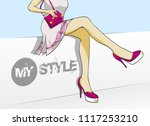 beautiful fashion girl feet in... | Shutterstock .eps vector #1117253210