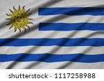 uruguay flag  is depicted on a...   Shutterstock . vector #1117258988