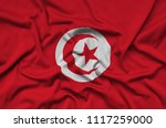 tunisia flag  is depicted on a...   Shutterstock . vector #1117259000