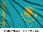kazakhstan flag  is depicted on ...   Shutterstock . vector #1117259138