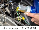 filling the engine oil into the ...   Shutterstock . vector #1117259213