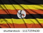 uganda flag  is depicted on a...   Shutterstock . vector #1117259630
