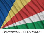 seychelles flag  is depicted on ...   Shutterstock . vector #1117259684