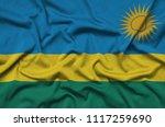 rwanda flag  is depicted on a...   Shutterstock . vector #1117259690