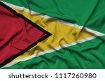 guyana flag  is depicted on a...   Shutterstock . vector #1117260980