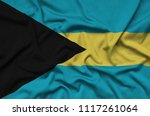 bahamas flag  is depicted on a...   Shutterstock . vector #1117261064