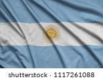 argentina flag  is depicted on...   Shutterstock . vector #1117261088