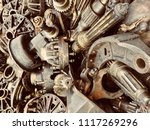scrap engine car and machinery...   Shutterstock . vector #1117269296