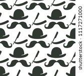vintage barber seamless pattern ... | Shutterstock .eps vector #1117271000