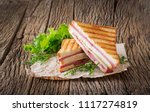 club sandwich   panini with ham ... | Shutterstock . vector #1117274819