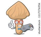 gamer inocybe mushroom mascot... | Shutterstock .eps vector #1117276556