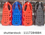 sledges ready to rent. winter... | Shutterstock . vector #1117284884