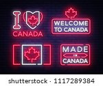 canada flag badges collection... | Shutterstock .eps vector #1117289384
