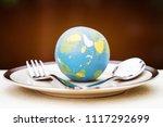 globe model placed on plate... | Shutterstock . vector #1117292699