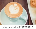 hot coffee with sweet cake... | Shutterstock . vector #1117295210