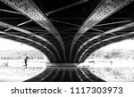 man running under a bridge  on... | Shutterstock . vector #1117303973