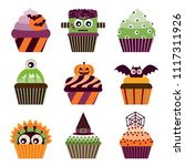 halloween cupcakes scary sweets ... | Shutterstock .eps vector #1117311926