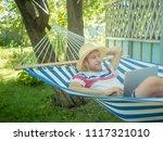 young relaxing man in summer...   Shutterstock . vector #1117321010
