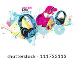 attractive dj playing music | Shutterstock .eps vector #111732113