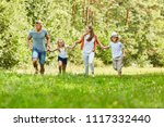 happy family and kids run... | Shutterstock . vector #1117332440