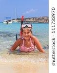 Girl in the sea - stock photo