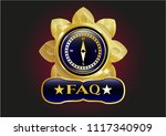 gold shiny emblem with compass ... | Shutterstock .eps vector #1117340909