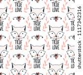 fashion fox seamless pattern.... | Shutterstock .eps vector #1117342316