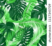vector monstera and palm leaves.... | Shutterstock .eps vector #1117345709
