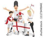 england football fans. cheerful ... | Shutterstock .eps vector #1117349840