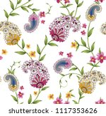paisley and flower pattern | Shutterstock .eps vector #1117353626