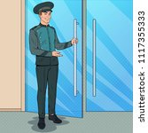 pop art doorman standing at... | Shutterstock .eps vector #1117355333