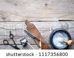 old vintage barbershop tools on ... | Shutterstock . vector #1117356800
