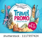 travel promo vector banner...   Shutterstock .eps vector #1117357424