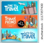 travel banner set vector... | Shutterstock .eps vector #1117357430