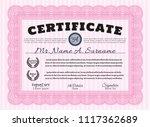 pink certificate template or... | Shutterstock .eps vector #1117362689