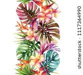 tropical seamless pattern on a... | Shutterstock . vector #1117364990