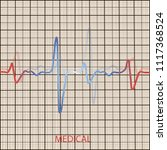 cardiology concept with pulse... | Shutterstock .eps vector #1117368524