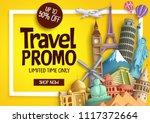 travel promo vector banner...   Shutterstock .eps vector #1117372664