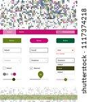 dark pink  green vector ui kit...