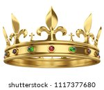 shiny gold crown decorated with ... | Shutterstock . vector #1117377680